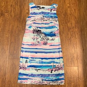 Talbots Lighthouse beach print Pink and blue dress